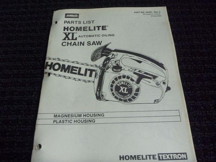 Vtg Homelite Jacobsen XL Chainsaw Parts List Catalog 24923 Rev 3 #Homelite