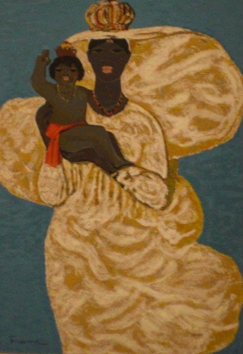 Salvatore Fiume, black Madonna with child, silkscreen Polymaterials d'aprés 32 colors of brocade, 70x50 cm