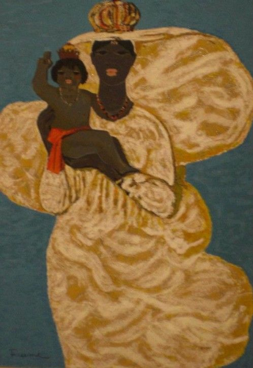 Salvatore Fiume, black Madonna with child, silkscreen Polymaterials d'aprés 32 colors of brocade, 70x50 cm