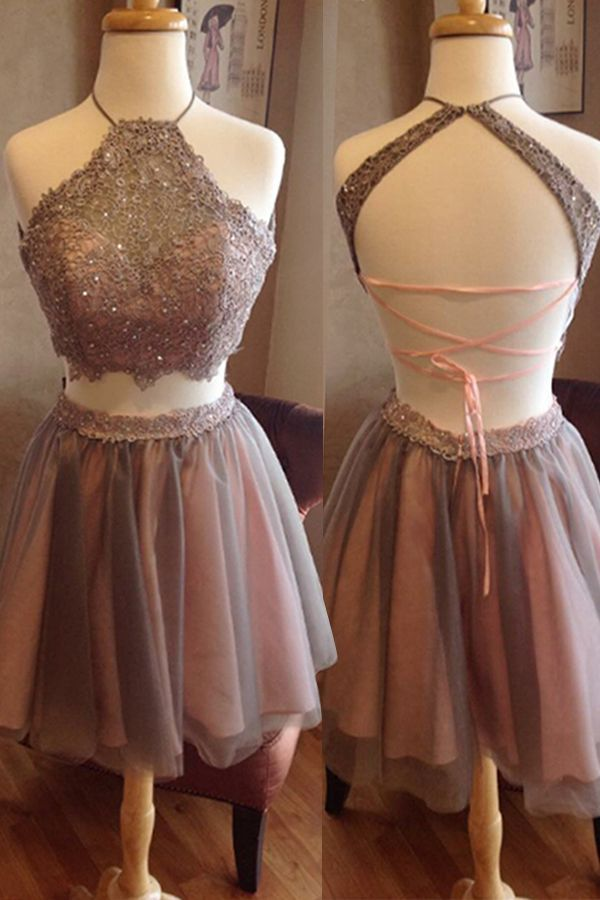 Short Homecoming Dress,Two Pieces Homecoming Dress,Open Back Homecoming Dress, High Neck Homecoming Dress,Graduation Dress , Homecoming Dress ,Prom Dress for Teens,17591