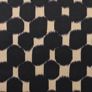 Black and Pampas Geometric Printed Cotton Canvas