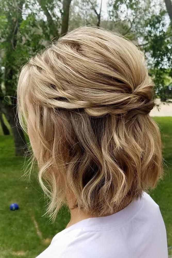 45 Perfect Half Up Half Down Wedding Hairstyles Wedding Forward Short Wedding Hair Bridesmaid Hair Short Hair Styles