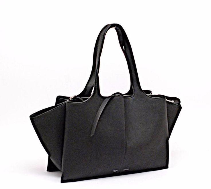 "AUTHENTIC CELINE TRIFOLD MEDIUM TOTE BAG LEATHER BLACK 14"" x 9"" $3100 #Celine #Tote"