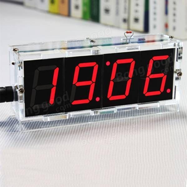 DIY 4 Digit LED Electronic Clock Kit Temperature Light Control Version Sale - Banggood.com