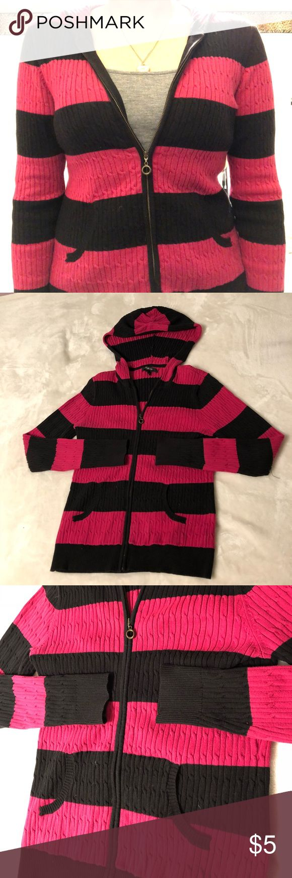 Pink Striped Zip up Hoodie Excellent used condition pink and black striped hooded jacket by Style Co. Size small but runs bigger and stretches. Fits like a Medium. Tag is slightly ripped but otherwise great condition! Style & Co Tops Sweatshirts & Hoodies