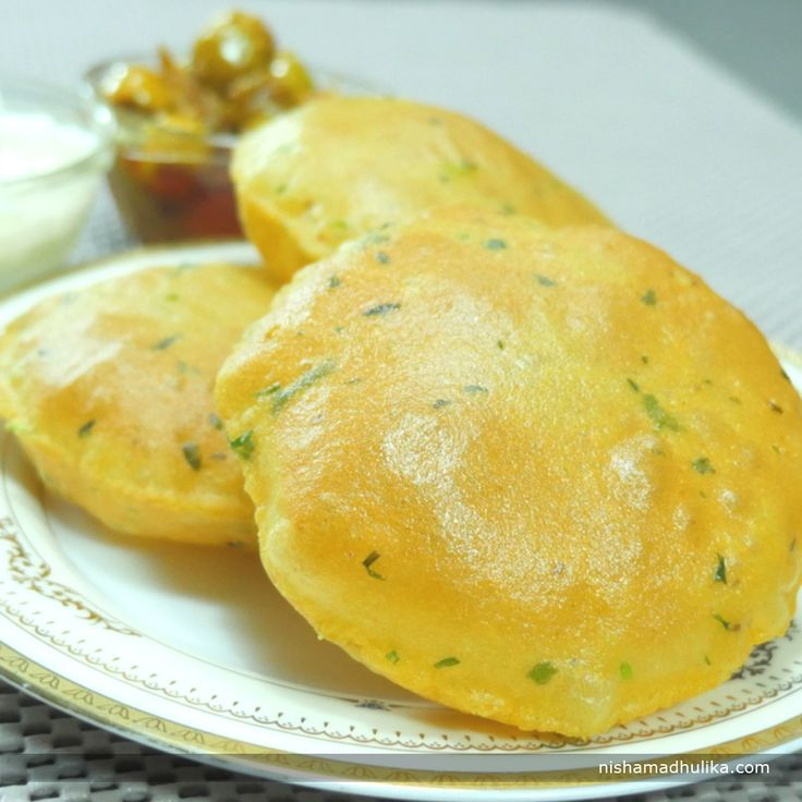 Aloo poori or Alu ki poori is a perfect breakfast or dinner recipe which tastes super delicious. They are prepared by adding mashed potatoes and few Indian spices in the wheat flour. Recipe in English- http://indiangoodfood.com/1901-aloo-puri-recipe.html ( copy and paste link into browser)  Recipe in Hindi- http://nishamadhulika.com/1490-aloo-puri-recipe.html ( copy and paste link into browser)