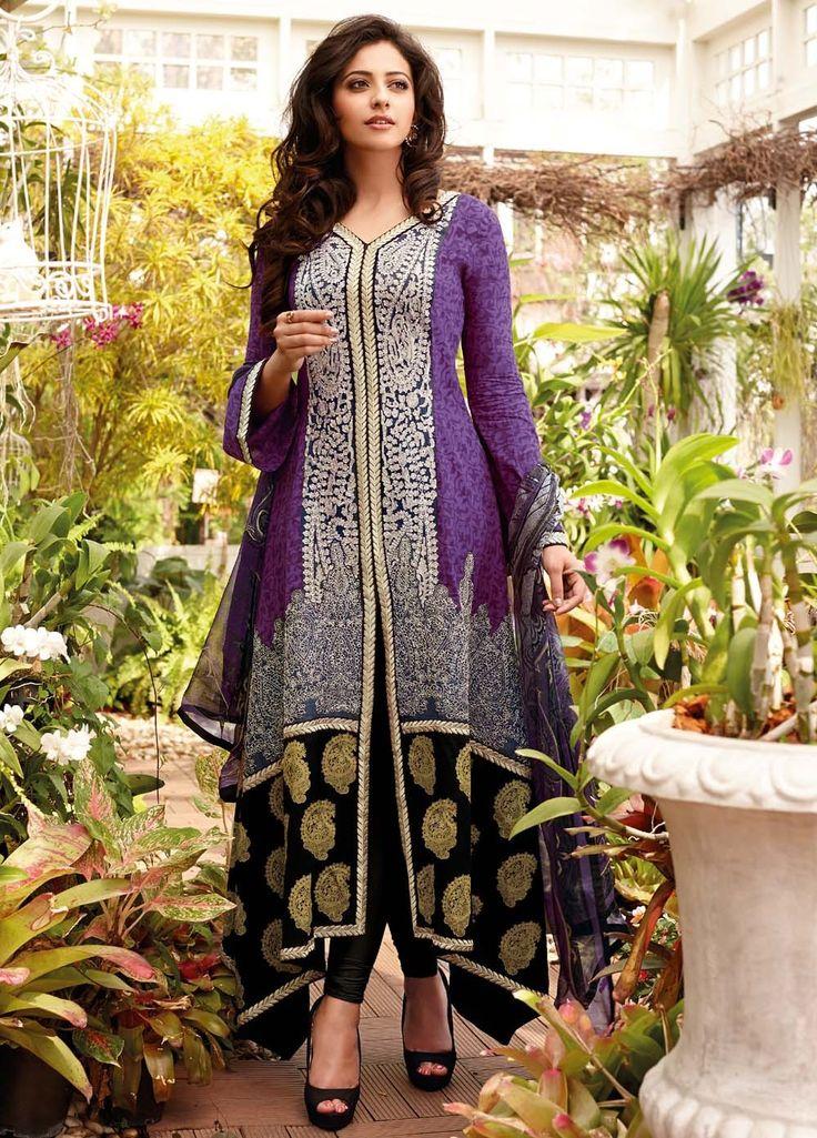 Attractive and Charming Rakul Preet Singh Cotton Suit with Chiffon Dupatta 8310B
