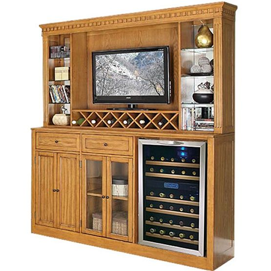 ECI Manchester Home Bar with Optional Hutch - Burnished Oak