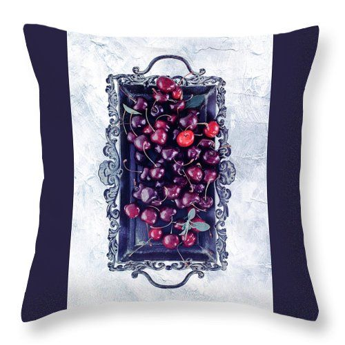 White Throw Pillow featuring the photograph Winter Cherry by Oksana Ariskina Red berry on a antique tray on a white marble, stucco, plaster textured background. Available as mugs, posters, greeting cards, phone cases, throw pillows, framed fine art prints, metal, acrylic or canvas prints, shower curtains, duvet covers with my fine art photography online: www.oksana-ariskina.pixels.com #OksanaAriskina