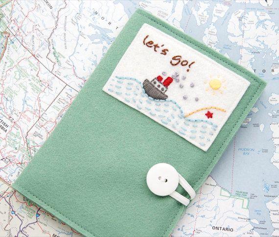 Felt Passport Cover Kids Passport Holder by JennMaruskaDesign, $30.00
