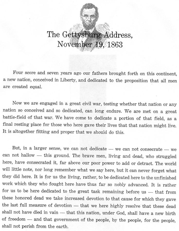 Stupendous image pertaining to gettysburg address printable