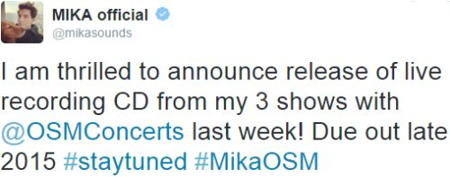 twitter MIKA NEWS about the CD of the concerts with OSM Feb 2015