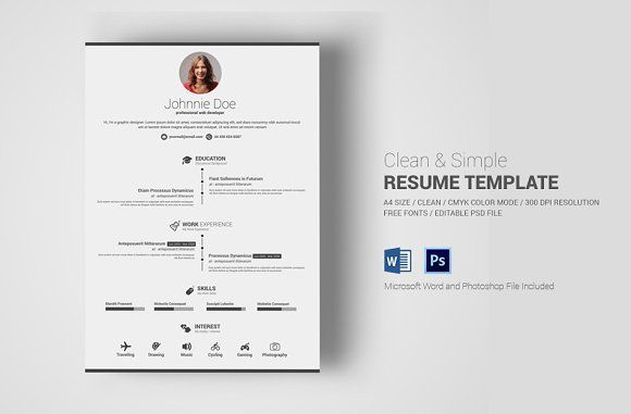 resume templates design simple clean resume with ms word