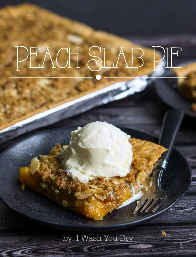 Peach Slab Pie with a crisp crumb topping!