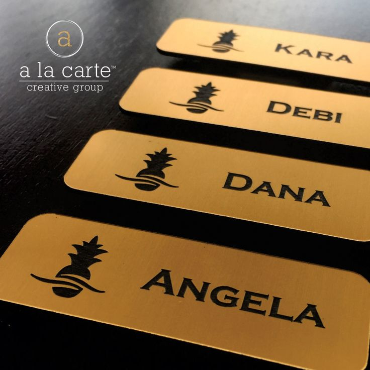 Need name tags for an upcoming event? Give us a call at (952)471-9304. #ALCCG #NameTags #Events #Creative #Agency #ALaCarte #Print #Follow #Gold #Metallic