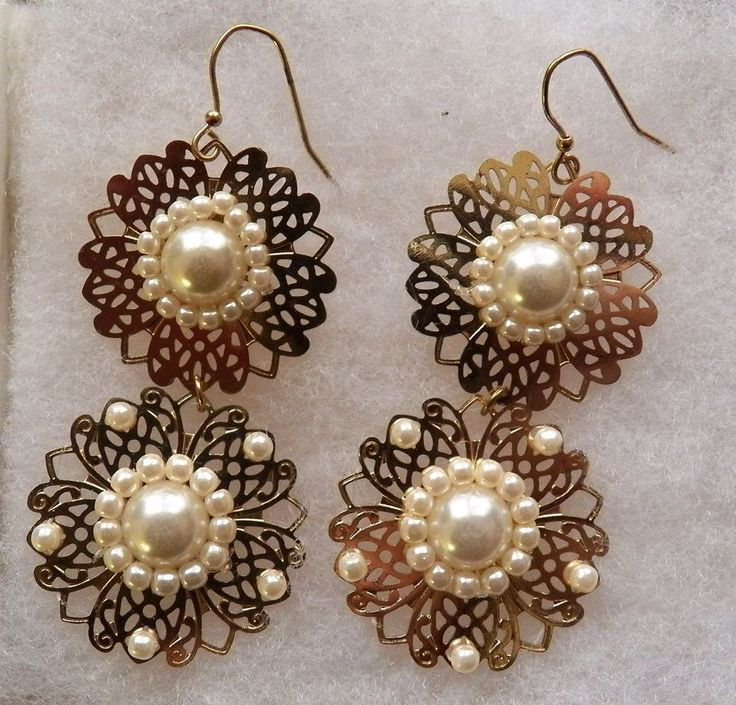 $3.00 - Goldtone Double Lace Disk with White Bead Earrings (113016-50 ER) fashion, jewel #Unknown #DropDangle