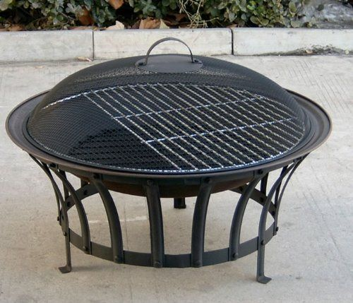 outdoor garden round fire pit u0026 bbq grill patio heater burner with mesh spark guard barbecue grid u0026 weather cover large steel - Round Fire Pit