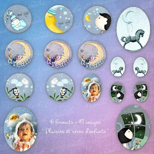 """43 images digitales pour cabochon ;"""" plaisirs et rêves d'enfants"""" : Images digitales pour bijoux par patouille-et-gribouille"""