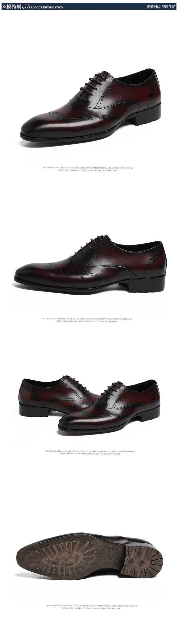2015 New Spring And Autumn Full For Grain Soft Genuine Leather Men's England Pointed Toe Business Dress Office Men Oxfords Shoes
