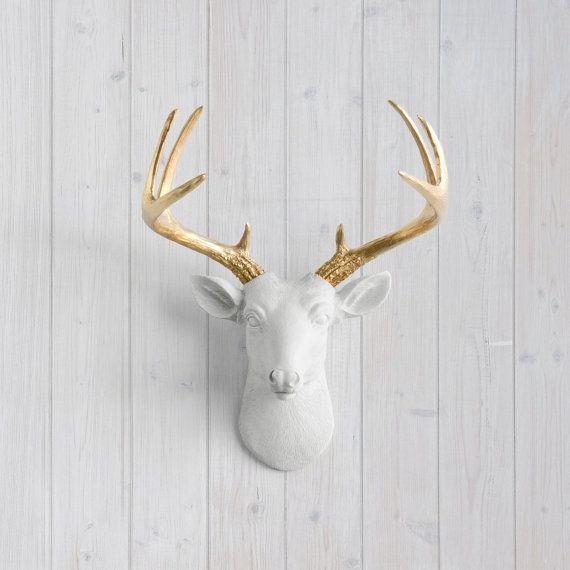 Blanco ciervos Mini + oro asta de pared Charmers™ - cabeza del Faux falso Animal resina cerámica Taxidermia montado Fauxidermy arte decoración réplica Monte
