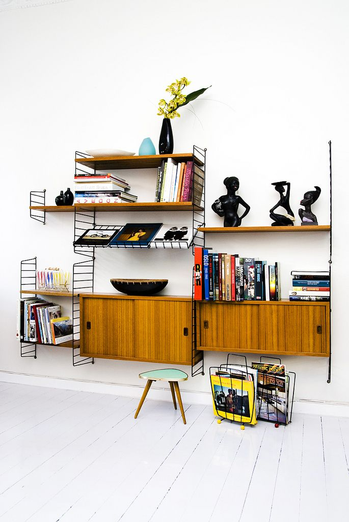 Scandinavian teak wall unit, midcentury