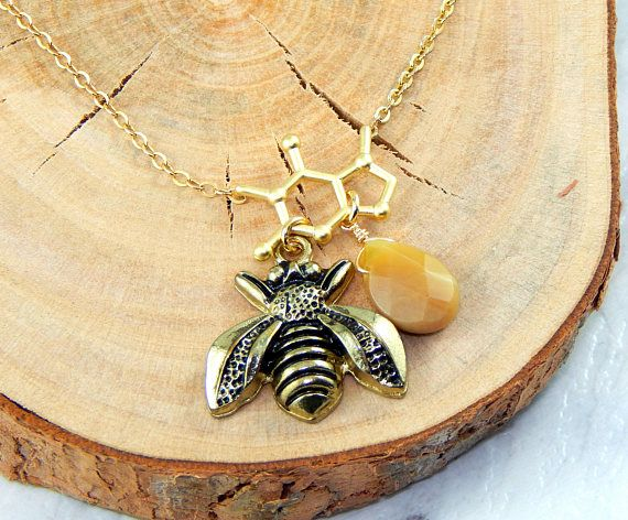 Gold Honey Bee NecklaceBee Hive and Wire Wrapped Opal