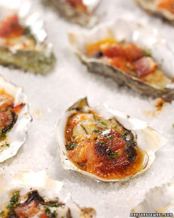 """Tried these at Hog Island Oyster and they were pretty spectacular! Happy came across this recipe for oysters casino is from """"The Hog Island Oyster Cookbook"""" by Jairemarie Pomo."""