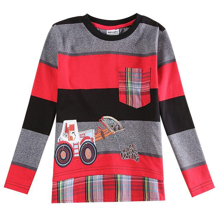 boys t shirt cotton car children clothing nova kids boys shirts stripes spring/autumn long sleeve t shirt for boys A5920 #Affiliate