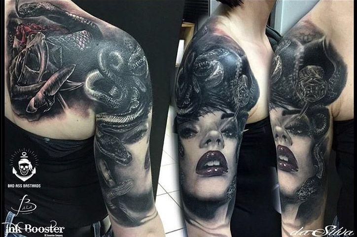 Shoulder realistic tattoo of Medusa
