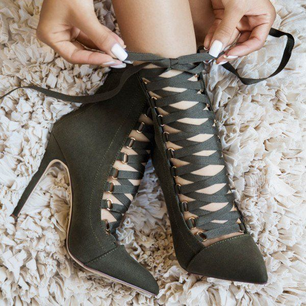Dark Green Strappy Heels Lace up Pointy Toe Stiletto Heels Pumps image 4