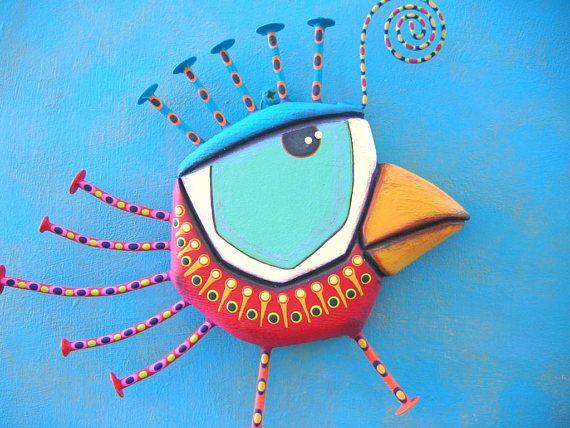 Canarias fresa pájaro de la pared arte escultura Original de