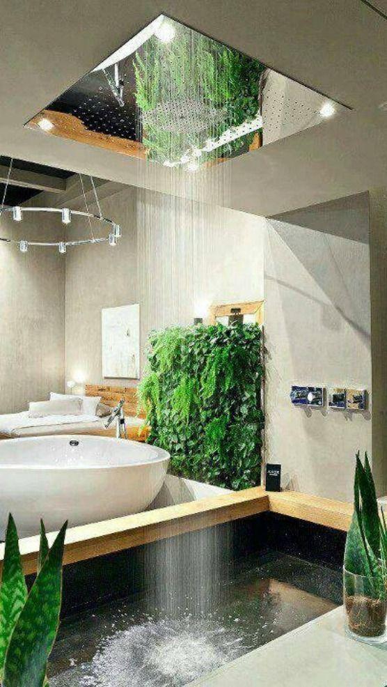 Tête de douche XXL dans une salle de bains luxueuse  http://www.homelisty.com/28-plus-belles-salles-de-bains-monde/