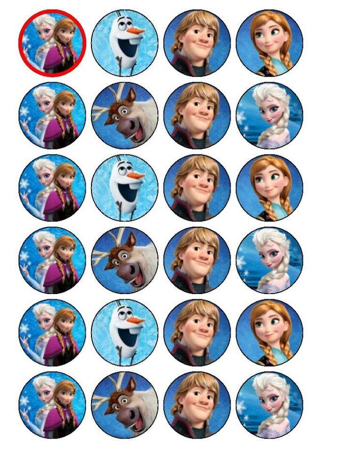 Lot de 24 décorations pour cupcakes La reine des neiges de Disney