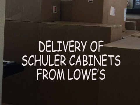 Our kitchen remodel with Lowe's.  Delivery of Schuler cabinets from Lowes - how it was delivered. Schuler cabinets in Manhattan Cherry in Chestnut USFloors Cork Deco in Cubis Gris - cork floor Silestone Quartz in Blanco Orion