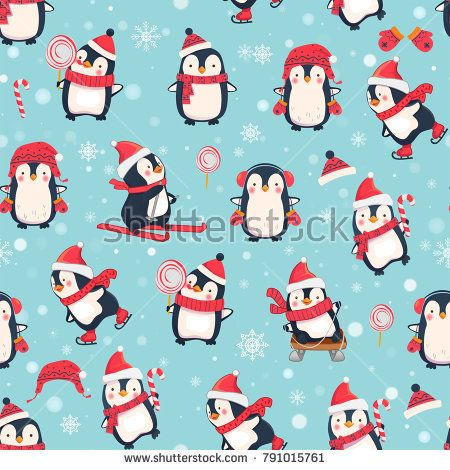 Seamless pattern with penguins. Cute penguin cartoon illustration. Christmas animals pattern. Stock photography, images, pictures, Illustrations, ideas. Download vector illustrations and photos on Shutterstock, Istockphoto, Fotolia, Adobe, Dreamstime
