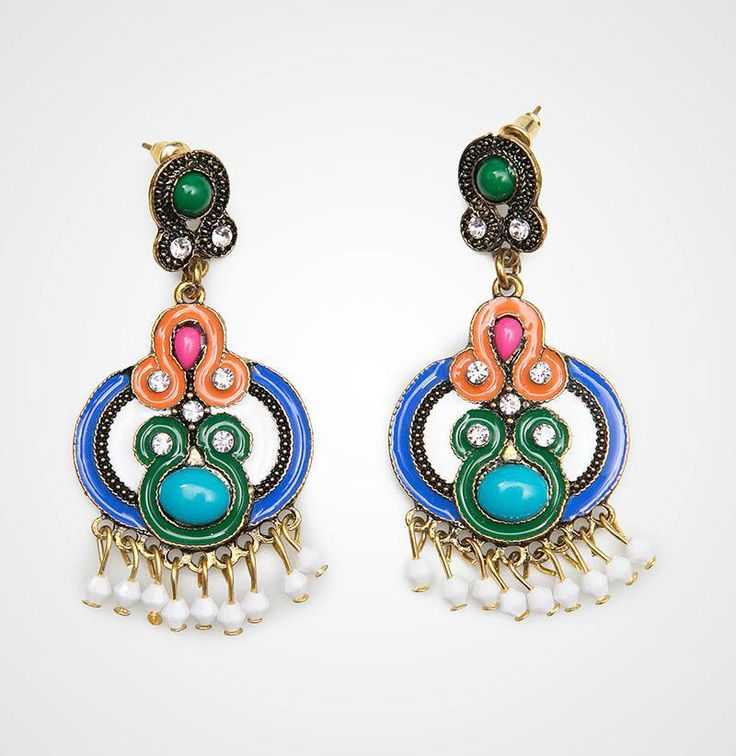 Odette Earrings design by Regina Garde. A pretty colorful earrings with a combination of blue, orang, green, pink, gold and black, feature beads and diamond accent, super gorgeous combination, this earrings is perfect for night occasion. http://www.zocko.com/z/JJusK
