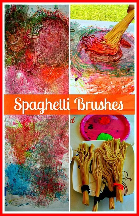 Sensory painting with spaghetti brushes. The kids have the ...