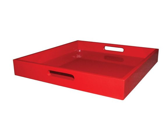 Red Square Decorative Tray, Red Coffee Table Tray, Red Serving Tray