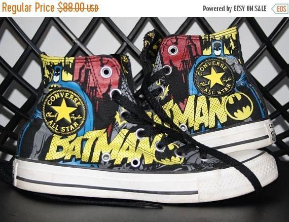 91cbec986c08 Chuck Taylor Vintage DC Comics Batman Graphic Comic Book Super Hero Classic Converse  All Star Hi Top Sneaker Runner Running Shoes Cons Kicks Rubber Bottom ...