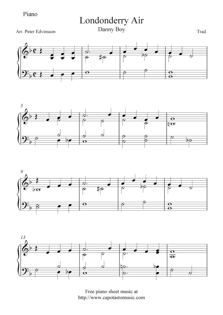 Free easy piano sheet music arrangement of the melody Danny Boy (Londonderry Air). Free printable sheet music notes for easy piano sol...