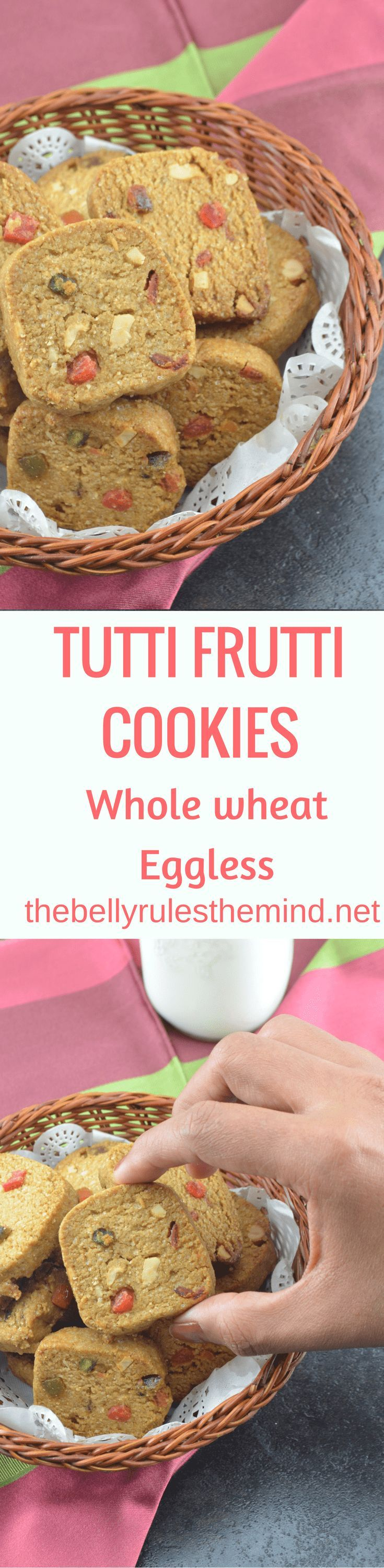 n easy recipe to make home-made delicious irresistible Whole Wheat Tutti Frutti Cookies with ingredients you can trust and control. You need Only 6 things to make the delicious Whole wheat Tutti Frutti cookie.. @Dbellyrulesdmind