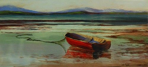 "Jane Meyler, ""Tranquility, Rosslare"" #art #boat #tranquil #tranquility #water #waves #mountains #Rosslare #DukeStreetGallery"