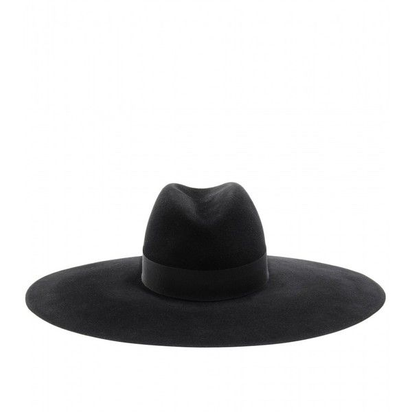 Saint Laurent Wide Brimmed Felt Fedora ($980) ❤ liked on Polyvore