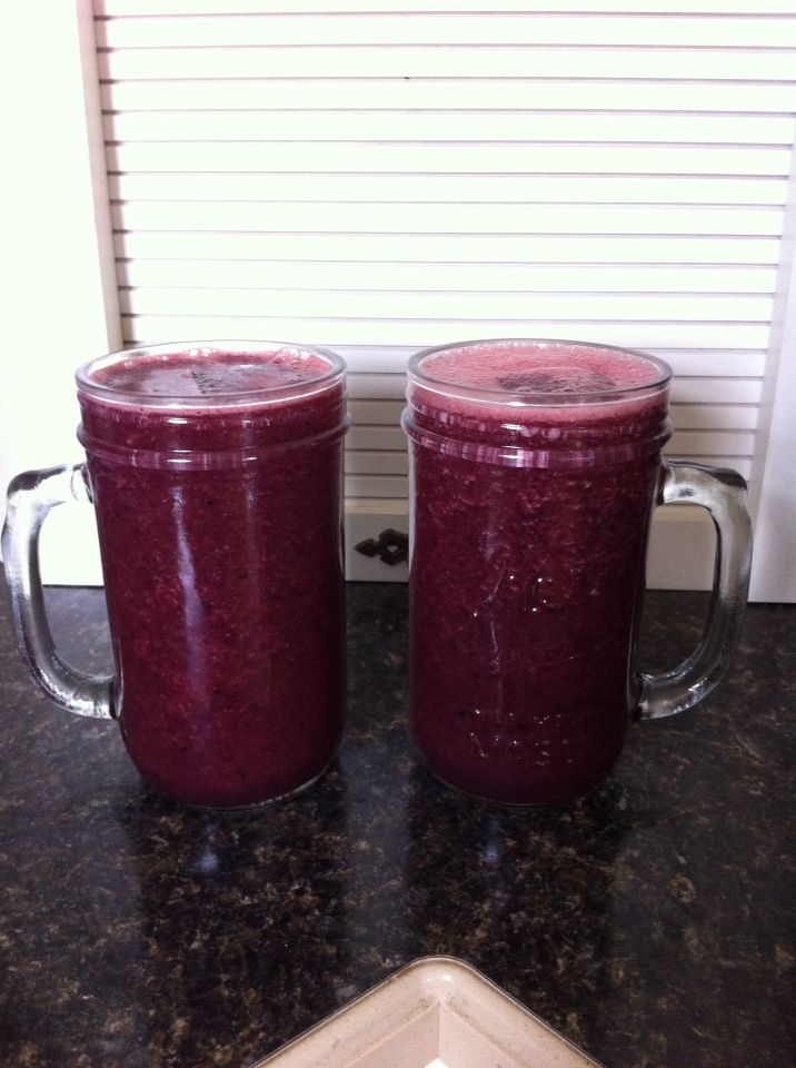 Day 3 Drink#3 red-white-blue 4 cups watermelon, 4 cups blueberries