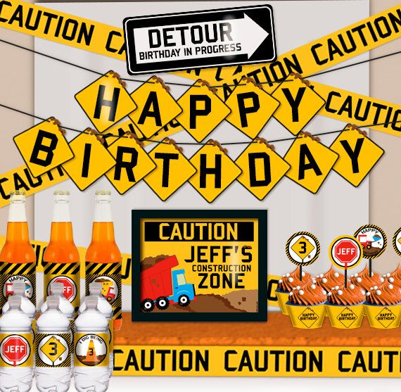 Dump Truck Construction Birthday Party Printable Party Decorations Supplies - Mini Set Party Kit PK-18 on Etsy, $25.22 AUD