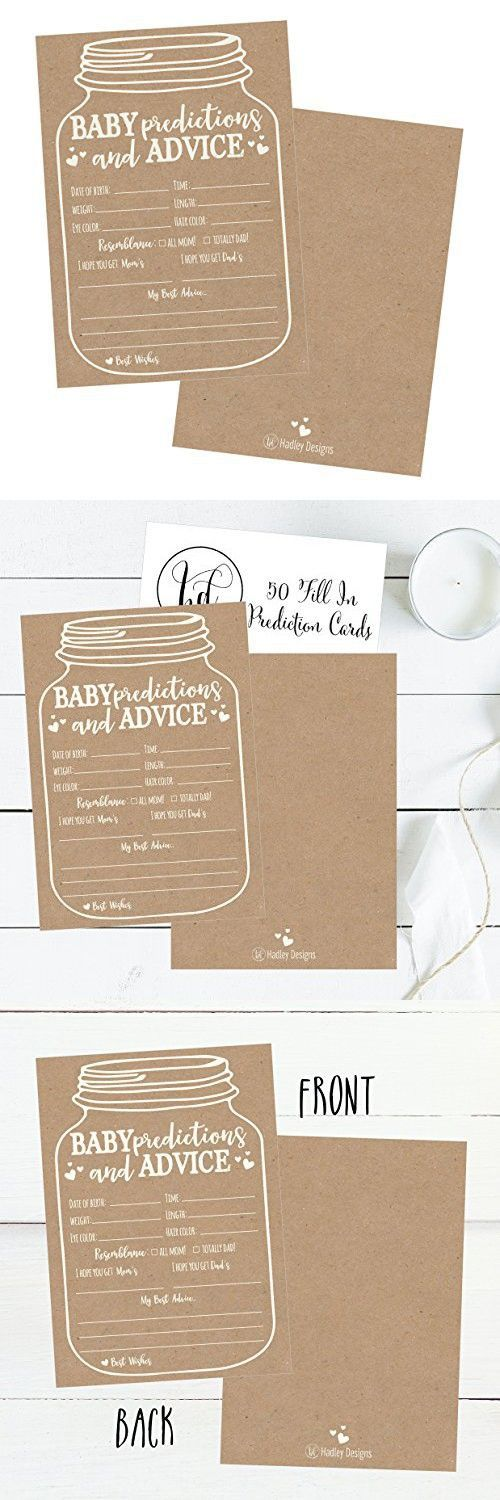 50 Mason Jar Advice and Prediction Cards for Baby Shower Game, New Mom & Dad Card or Mommy & Daddy To Be, For Girl or Boy Babies, New Parent Message Advice Book, Fun Gender Neutral Shower Party Favors