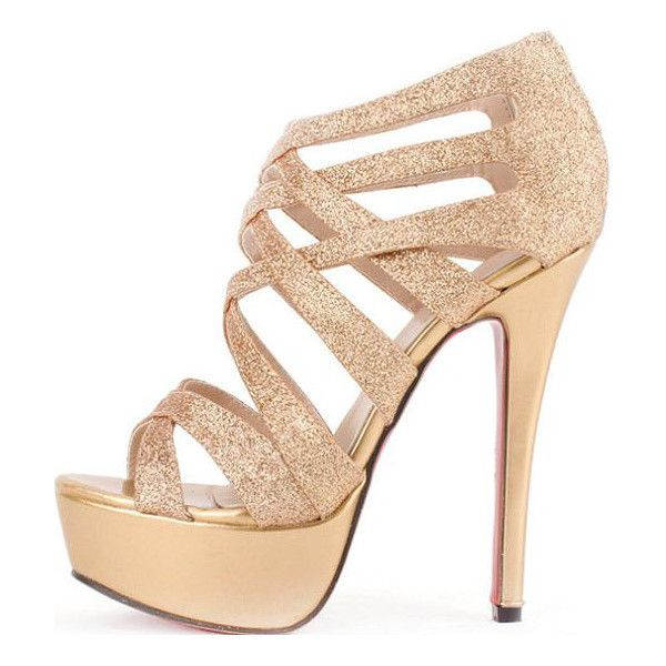 Gold Faux Leather Glitter Strappy Gladiator Platform Heels ($25) ❤ liked on Polyvore featuring shoes, sandals, heels, sapatos, high heels, gold, platform heel sandals, high-heel gladiator sandals, platform sandals and gold sandals