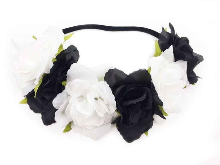 Floral Fall Rose Holiday Christmas Crown Festival Headbands Hippie Flower Headpiece F-53 (Black White)