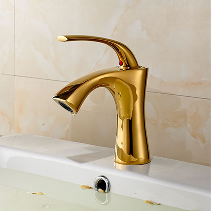 Free Shipping Fashion deck mounted golden basin sink mixer tap with high quality solid brass bathroom basin sink water faucet #Affiliate