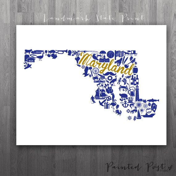 Baltimore Maryland Landmark State Giclée Print  by PaintedPost, $15.00 #paintedpoststudio - Baltimore Ravens - NFL